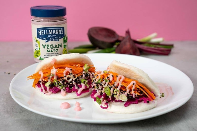 Hellmann's Beetroot Filled Bao Bun with Pink Vegan Mayonnaise