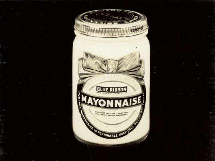 A vintage jar of Hellmann's Mayonnaise.