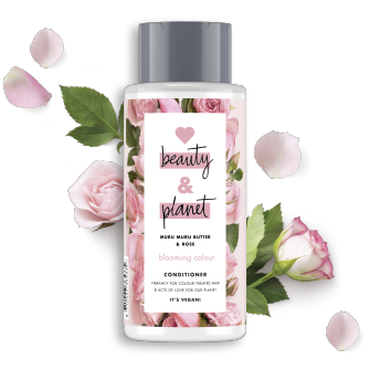 Vorderseite der Conditionerflasche: Love Beauty & Planet Conditioner Murumuru Butter & Rose