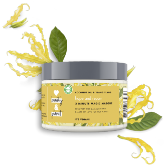 Vorderseite des Tiegels der Haarmaske: Love Beauty & Planet Haarmaske Coconut Oil & Ylang Ylang Flower