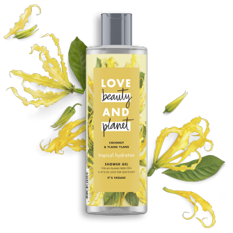 Vorderseite des Duschgels: Love Beauty & Planet Tropical Hydration Duschgel Coconut Oil & Ylang Ylang Flower