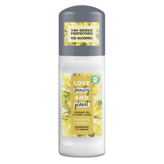 Front of roll-on pack Love Beauty Planet Energizing Deodorant Roll-on 50ml
