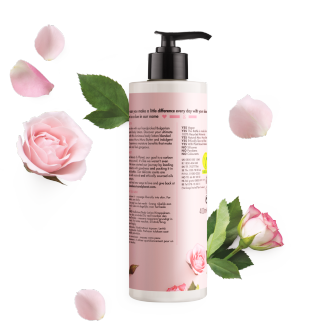 Achterkant bodylotionverpakking Love Beauty Planet murumuruboter & roos bodylotion prachtige glans 400 ml