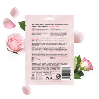 Achterkant verpakking sheet mask Love Beauty Planet blooming radiance 1 pc