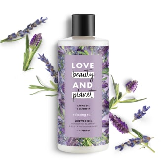 Front of shower gel pack Love Beauty Planet Argan Oil & Lavender Shower Gel Relaxing Rain 500ml