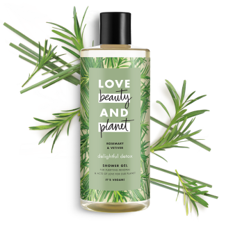 Le devant de la bouteille de gel douche Détox Sublime au romarin & vétiver de Love Beauty and Planet 500 ml