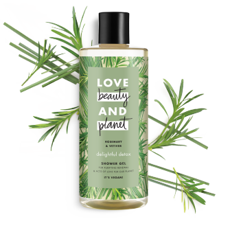 Voorkant douchegelverpakking Love Beauty Planet rozemarijn & vetiver douchegel heerlijke detox 500 ml