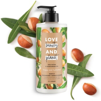Front of cleansing conditioner pack Love Beauty Planet Shea Butter & Sandalwood Cleansing Conditioner Happy & Hydrated 500ml