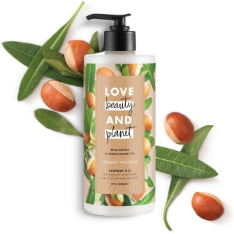 Front of shower gel pack Love Beauty Planet Shea Butter & Sandalwood Shower Gel Majestic Moisture 500ml