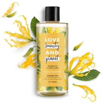 Front of shower gel pack Love Beauty Planet Coconut Oil & Ylang Ylang Shower Gel Tropical Hydration 500ml