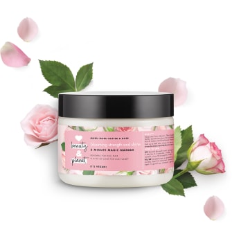 Framsida av hårmaskförpackning Love Beauty Planet Murumurusmör & Rosor hårmask Blooming Colour 300 ml