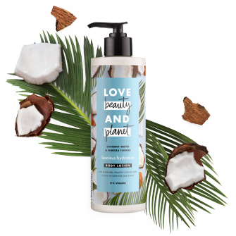 Front of body lotion pack Love Beauty Planet Coconut Water & Mimosa Body Lotion Luscious Hydration 400ml