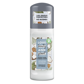 Front of roll-on pack Love Beauty Planet Refreshing Deodorant Roll-on 50ml
