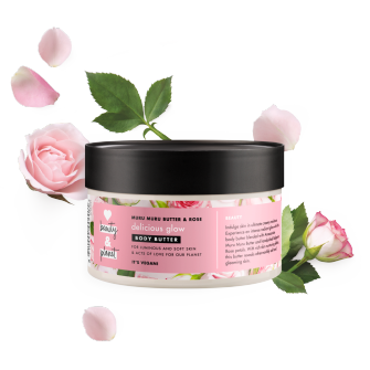 Forsiden av kroppssmøret Love Beauty Planet Muru Muru Butter & Rose Body Butter Delicious Glow 250ml