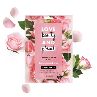 Front of sheet mask pack Love Beauty Planet Murumuru Butter & Rose Sheet Mask Blooming Radiance 21ml