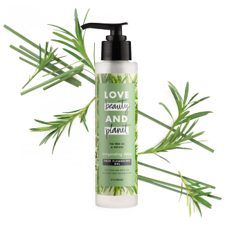 Front of face cleansing gel pack Love Beauty Planet Tea Tree Oil & Vetiver Face Cleansing Gel Invigorating Detox 125ml