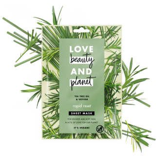 Front of sheet mask pack Love Beauty Planet Tea Tree Oil & Vetiver Sheet Mask Rapid Reset 21ml