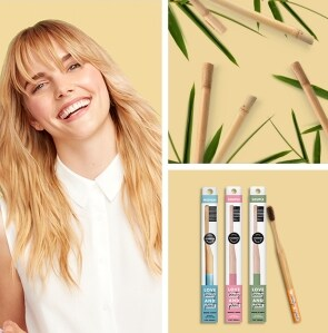 lifestyle grid of bamboo toothbrushes