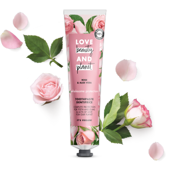 Přední strana obalu zubní pasty Love Beauty and Planet Wholesome Protection 75 ml