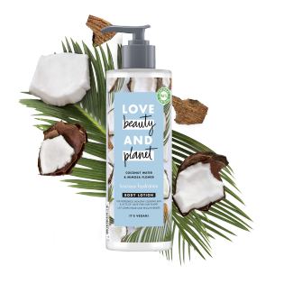 Voorkant bodylotionverpakking Love Beauty Planet kokoswater & mimosabloem bodylotion heerlijke hydratatie 400 ml