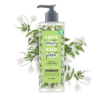 Voorkant verpakking body lotion Love Beauty and Planet neroli & white jasmine Divine Indulgence 400ml