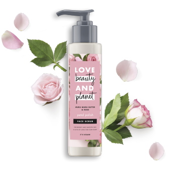 Front of face scrub pack Love Beauty Planet Murumuru Butter & Rose Face Scrub Petal Polish 125ml