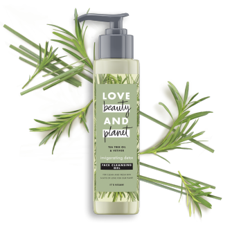 Front of face cleanser pack Love Beauty and Planet Face Cleanser Rosemary & Vetiver 125ml