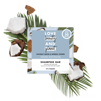 Front of shampoo pack Love Beauty Planet Coconut Water & Mimosa Flower Shampoo Volume & Bounty