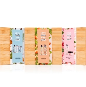 Love, beauty and planet geschenkset in bamboo kist