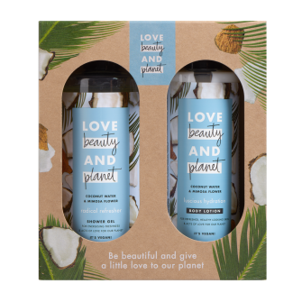 LBP coconut water & mimosa flower duo geschenkset 2-delig front of pack
