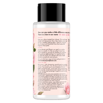 Back of conditioner pack Love Beauty Planet Muru Muru Butter & Rose Conditioner Blooming Colour 400ml