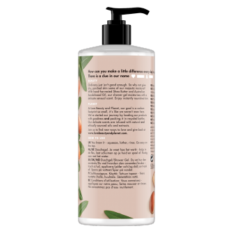 Back of shower gel pack Love Beauty Planet Shea Butter & Sandalwood Shower Gel Majestic Moisture 500ml