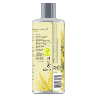 Suihkugeelipakkauksen takaosa Love Beauty Planet Kookosöljy ja ylang-ylang -suihkugeeli Tropical Hydration 500 ml