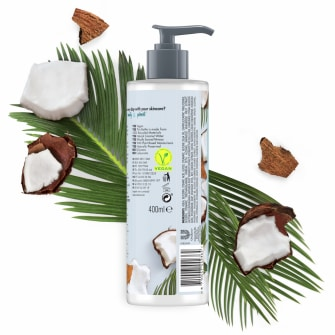Achterkant bodylotionverpakking Love Beauty Planet kokoswater & mimosabloem bodylotion heerlijke hydratatie 400 ml