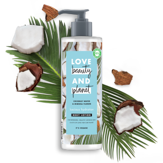 Front of body cream pack Love Beauty Planet Coconut Water & Mimosa Body cream Luscious Hydration 400ml