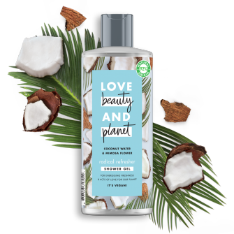 Front of shower gel pack Love Beauty Planet Coconut Water & Mimosa Flower Shower Gel Radical Refresher 500ml