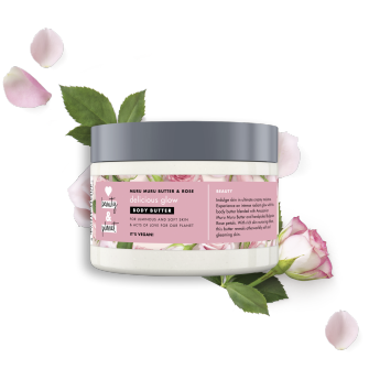 Front of body butter pack Love Beauty Planet Murumuru Butter & Rose Body Butter Delicious Glow 250ml