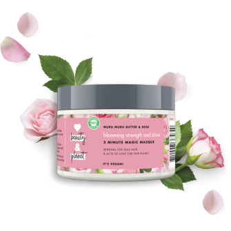 Front of hair masque pack Love Beauty Planet Muru Muru Butter & Rose Hair Masque Blooming Colour 300ml