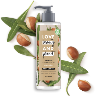 Front of body lotion pack Love Beauty Planet Shea Butter & Sandalwood Body Lotion Shea Velvet 400ml