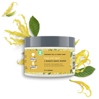 Front of hair masque pack Love Beauty Planet Coconut Oil & Ylang Ylang Conditioner Hope & Repair 300ml