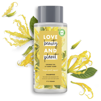 Frente da embalagem do champô Love Beauty Planet Champô Óleo de Coco & Ylang Ylang Hope & Repair 400 ml