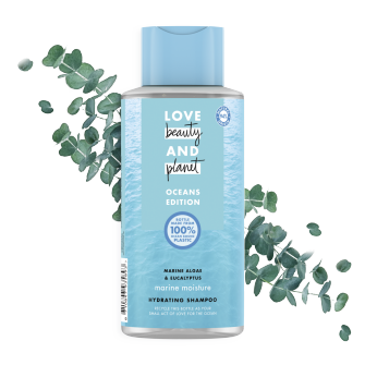 Front of shampoo pack Love Beauty Planet Marine Algae & Eucalyptus Shampoo Marine Moisture 400ml