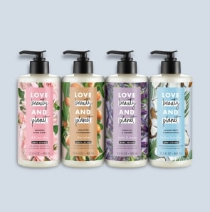 Four body lotion bottles