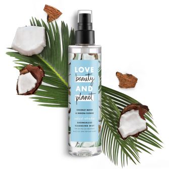 Front of body wash pack Love Beauty Planet Coconut Water & Mimosa Flower Showerless Cleansing Mist Radical Refresher 6.7oz