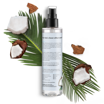 Back of body wash pack Love Beauty Planet Coconut Water & Mimosa Flower Showerless Cleansing Mist Radical Refresher 6.7oz