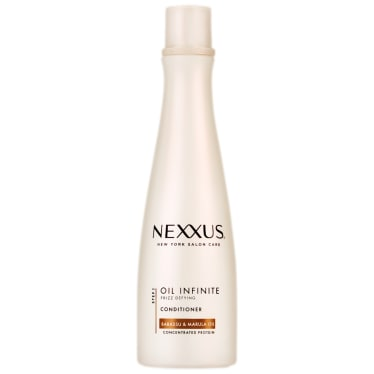 Front of conditioner pack Nexxus Oil Infinite Conditioner for Frizzy Hair 250ml