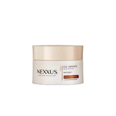 Front of masque pack Nexxus Oil Infinite Masque For Frizzy Hair 190ml