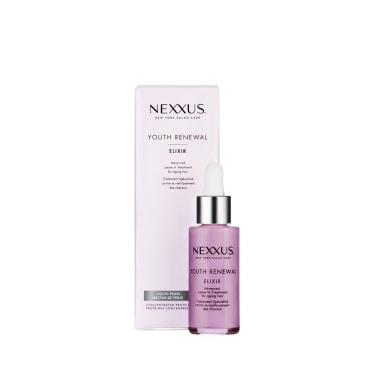 Front of exilir pack Nexxus Youth Renewal Elixir for Fine Hair 28ml