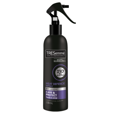 A 300ml bottle of TRESemmé Heat Defence Spray front of pack image