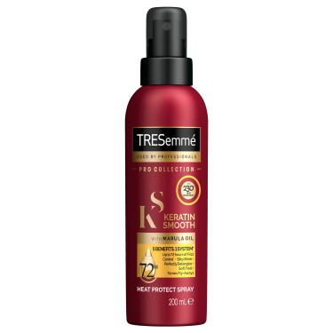 A 200ml bottle of TRESemmé Keratin Smooth Heat Protect Spray front of pack image